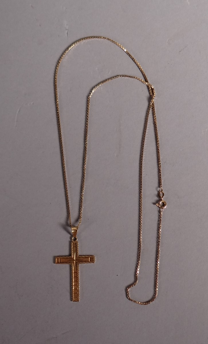 Bijou chain and pendant - Cross - in yellow 18k gold