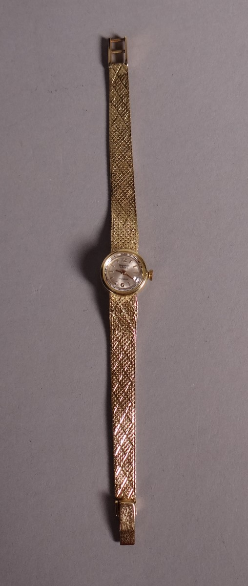 Bijou: lady's watch 17 jewels Gigandet incabloc case and bracelet in 18k yellow gold