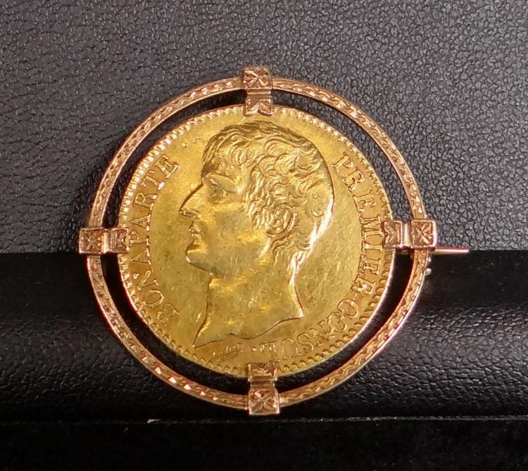 Jewelry: 18k yellow gold brooch set with 1 coin 40 francs Bonaparte year 12