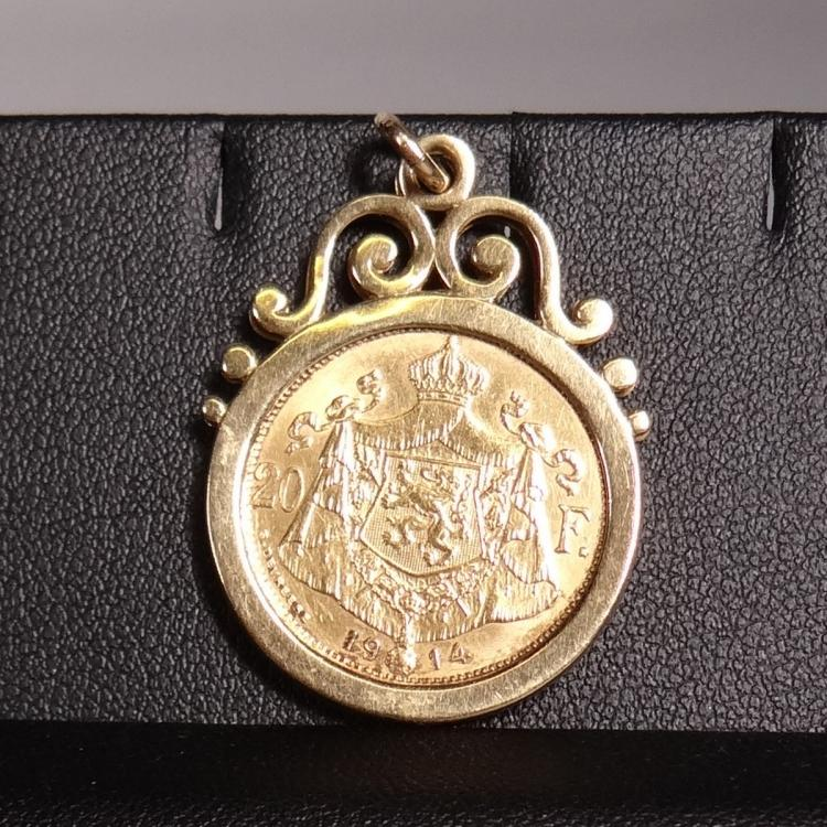 Jewelry: 18k yellow gold pendant with gold coin 20 Belgian francs Albert