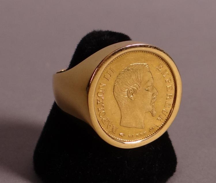 Jewelry: 18k yellow gold signet ring set with a coin 10 francs Napoléon III 1855