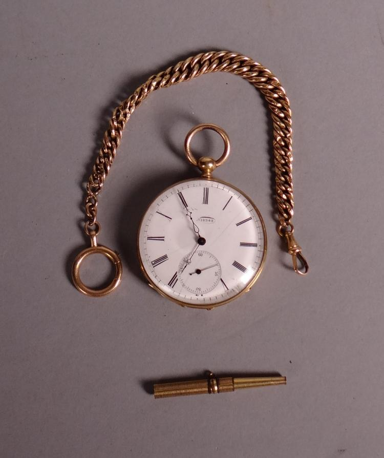 Clocks: Watch's pocket chronometer in 18K gold 2nd half 19C and gold chain