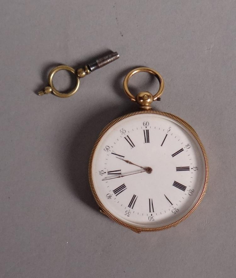 Clocks: Pocket watch double bowl in yellow 18k gold