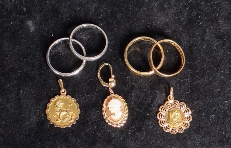 Jewelry: 2 alliances in platinum. yellow gold 18k jewelry various