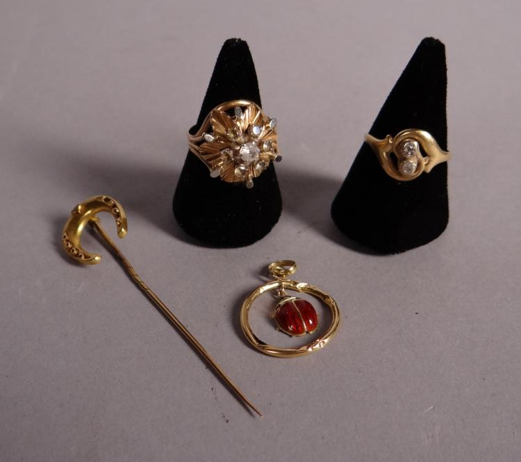 18k yellow gold jewelry and ring set with 2 little stones