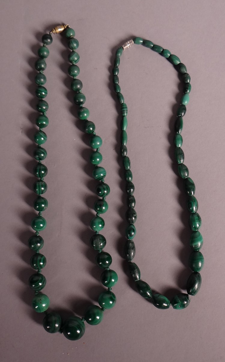 Jewelry: 2 necklaces with malachite beads