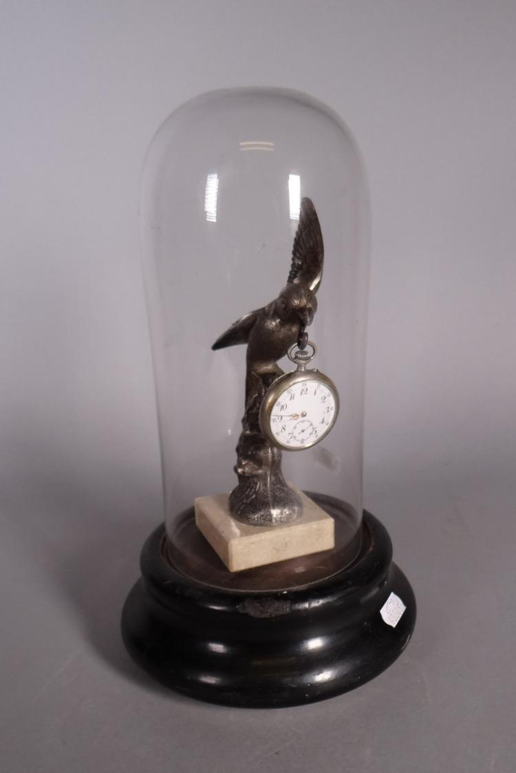 Clocks: white metal watch stand with pocket's watch under glass
