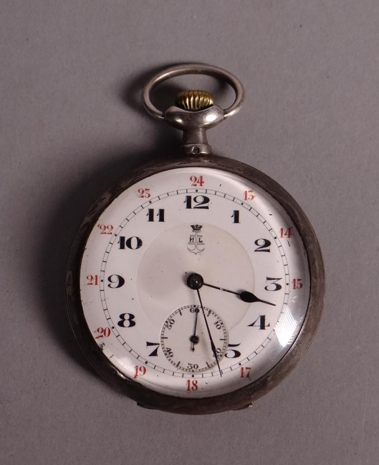 Clocks: Pocket watch chronometer in silver