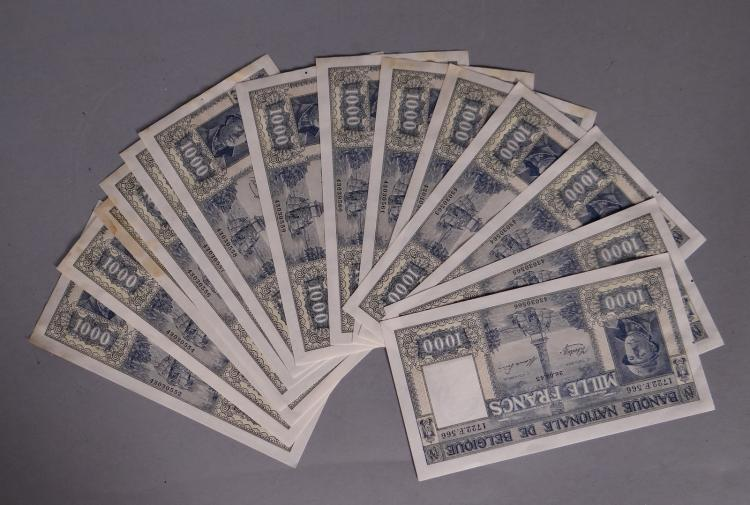 Collection: 15 1000Frs Dynasty bank notes