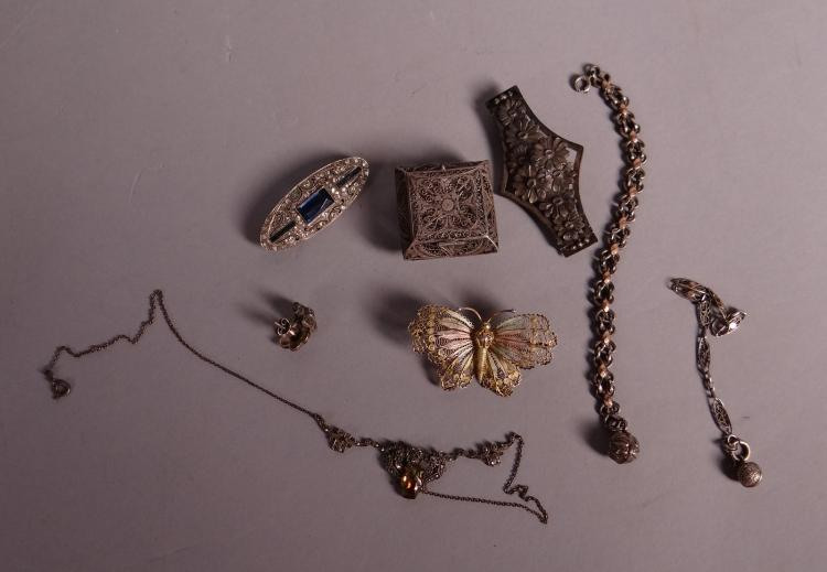 Silver jewelry: carved box. 3 brooch. 2 bracelets. pendant necklace and pair of earrings