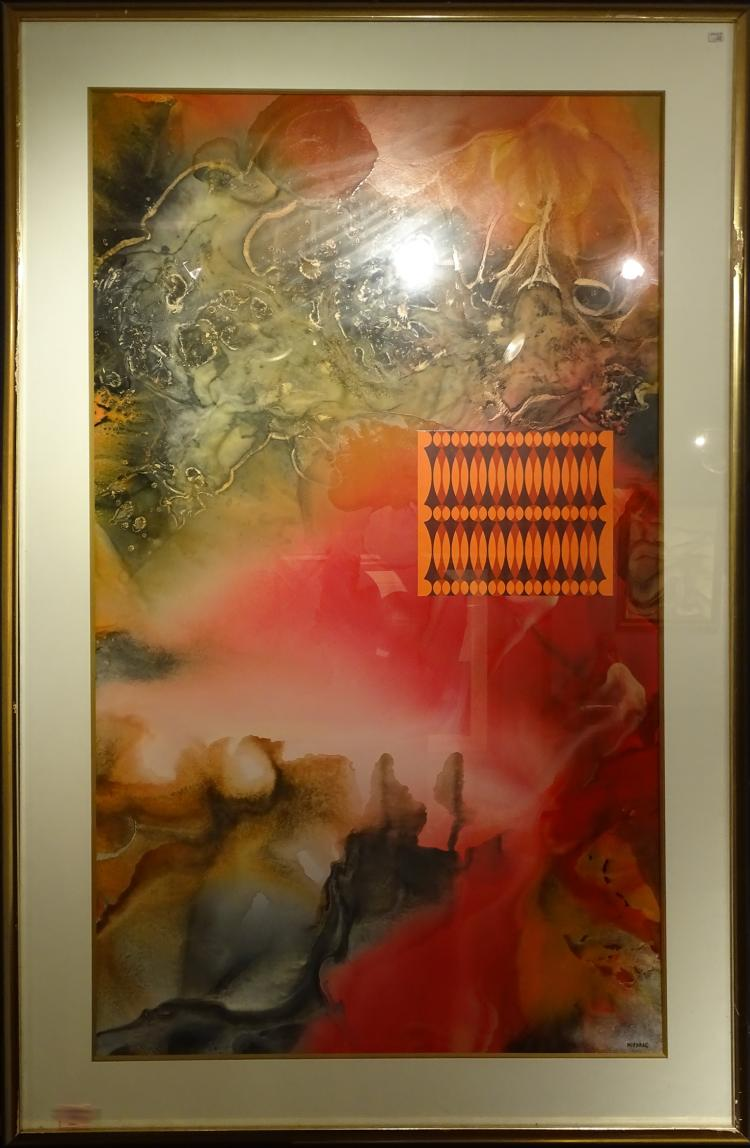 Painting Oil on cardboard  - Composition - signed MIODRAG Dordevic