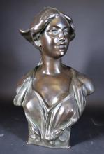 17710c96634 Sculpture  Bronze - Lady with the headdress - signed LAMBEAUX Jef
