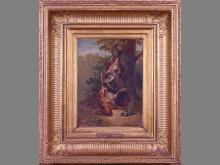 painting oil on mahogany wood - still life - signed HUYGENS Francois Joseph