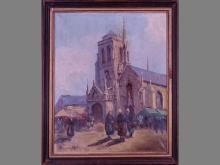 painting oil on canvas - marche animated en bretagne - (rest) signed PARTURIER Marcel
