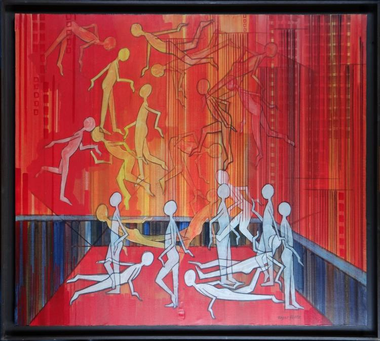 painting oil on canvas - Composition with characters - signed GLOTZ Roger