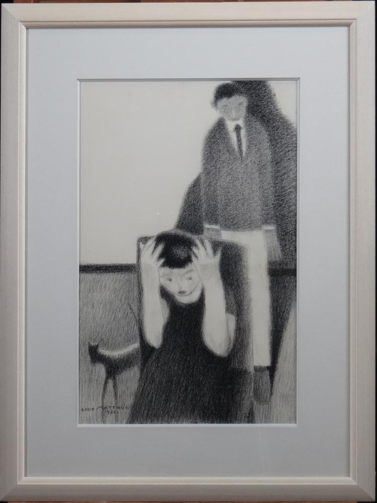 Painting : Drawing - The lie - dated 1980 signed MATTHIJS Lode