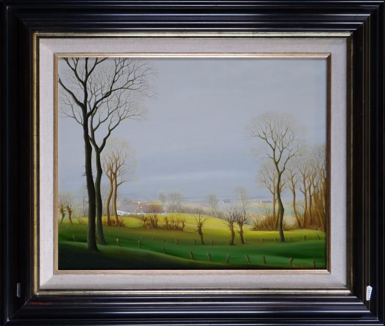 Painting oil on panel - Spring in the Flemish Ardennes - signed WILLEQUET Piet