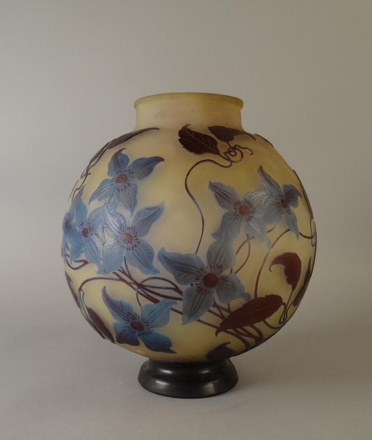Verrerie vase en pate de verre 3 couches signature japonai for Decoration vase en verre