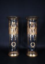 Glassware: Pair of high vases in crystal Baccarat? gilded Empire spirit motifs late 19th (little chips on base)
