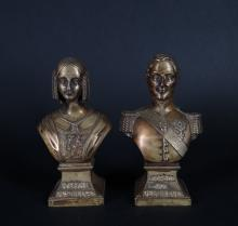 Sculpture: 2 gilded patina bronze busts - Leopold I. King of the Belgians - and - Louise of Orleans. Queen of the Belgians - Anonymous