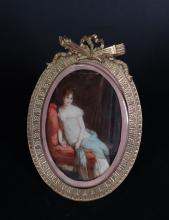 Item: Miniature painted on ivory - Madame Recamier - signed late 19th C oval frame in gilded metal