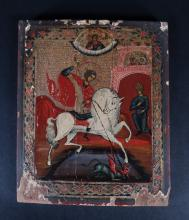 painting : Polychromatic icon on wood - St Georges slaying the dragon - 19th C