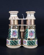 Item: Pair of ivory and porcelain theater binoculars (crack) early 20th century