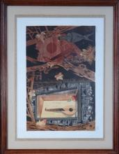 Engraving: Litho colors - Window towards the interior - signed RANSY Jean