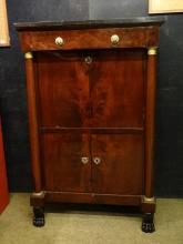furniture : secretary desk straight Empire in mahogany crotch 1middle of 19th C