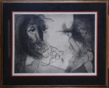 Engraving: Etching - The model and its painter - signed SOMVILLE Roger