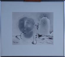 painting drawing ink - The old woman - signed SPRUMONT André