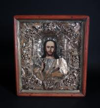 painting : Polychromatic icon on wood - Christ - rizza silver plated and gilded 19th C