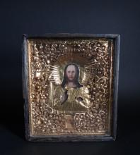 painting : Polychromatic icon on wood - Christ - rizza metal gilded 19th C