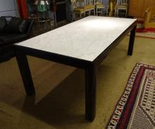 furniture : Design table in black lacquered wood and marble (corner crack)