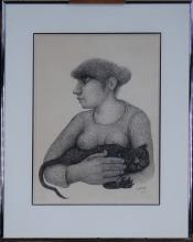 painting drawing - woman with cat - signed VERAG Lucienne