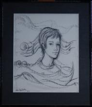 painting (3) drawings - portrait of a child - signed DELPORTE Charles