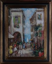 painting oil on canvas - Animated street on the Italian Riviera- signed ZAMARRA Albert