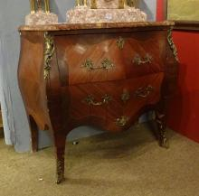 furniture: Curved chest of drawers Louis XV style in bahia rosewood marquetry early 20th century