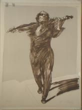 Engraving: Litho - The Violinist - signed WEISBUCH Claude