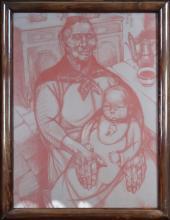 painting pastel sanguine - maternity - signed CARION Marius