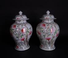 Asian: Pair of covered Chinese porcelain vases 1st half 20th C
