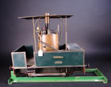 Toy: Train / Steam locomotive Gaillette CFVD. vertical boiler onboard trainer on presentation rail