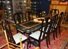 furniture: dining table in marble marquetry wooden base + 8 chairs