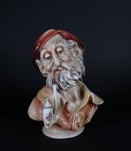 Ceramic: Bust of an old man in porcelain signed BORSATO Antonio