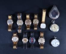 Jewel: Wristwatch and pocket watch (11) including LIP. VOCE. ROSKOPF. METRIC various states
