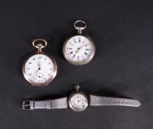 Jewel : Silver Pocket watch with winding (missing key) including one CORTEBERT and one mounted on bracelet (in working order)