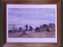 painting : watercolor - Landscape animated by Breton fishermen - 1893 signed GROS Lucien