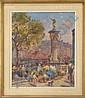 DANDOY A. - Tableau HST -Marché aux fleurs animé à, Albert Dandoy, Click for value