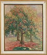 CATY C. - Tableau HSP -Vue d'arbres- daté 1917