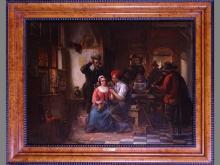 painting oil on wood- cabaret scene - signed CAROLUS Jean